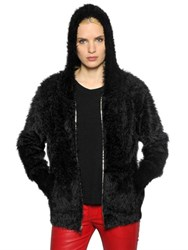 Rta Furry Knit Zip Up Sweater