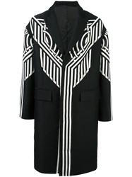 Les Hommes Oversized Tribal Pattern Coat Black