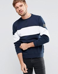 Replay Crew Sweatshirt Insert Chest Stripe In Navy Melange Blue 784