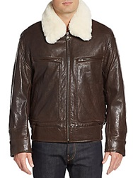Marc New York Carmine 2 Faux Fur Trimmed Leather Jacket Brown