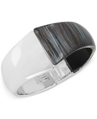 Robert Lee Morris Soho Silver Tone Colorblock Hinged Bangle Bracelet