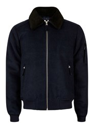 Topman Blue Navy Faux Fur Collar Flight Jacket