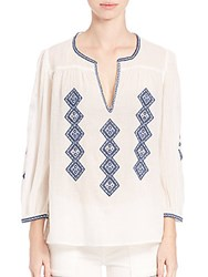 Joie Magana Embroidered Cotton Peasant Blouse Porcelain