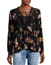 Vintage Havana Floral Lace Up Top Black