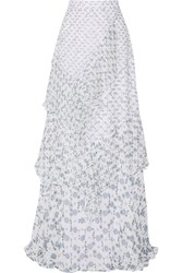 Peter Pilotto Tiered Printed Silk Georgette Maxi Skirt White Blue