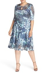 Komarov Plus Size Women's Keyhole Neck Three Quarter Sleeve Floral Gown Print