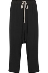 Rick Owens Cropped Washed Cady Track Pants Black
