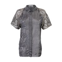 Mariana Jungmann Silk Shirt With Lace Sleeves Grey