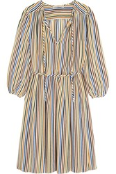 Vanessa Bruno Festine Striped Silk Dress Blue Yellow