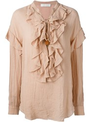 Chloe Chloe Ruffled Bib Blouse Nude And Neutrals