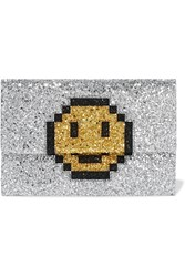Anya Hindmarch Valorie Glittered Canvas Clutch Silver