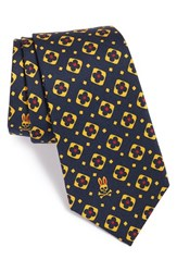 Men's Psycho Bunny Medallion Silk Tie Navy