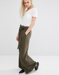 Native Youth Wide Leg Trousers With Tie Front Olive Green