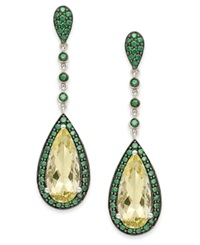 Macy's Sterling Silver Earrings Lemon Quartz 5 Ct. T.W. And Green Swarovski Zirconia 1 1 5 Ct. T.W. Drop Earrings
