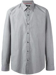 Hugo Boss Patterned Long Sleeve Shirt Grey