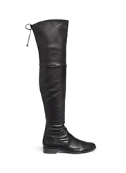 Stuart Weitzman 'Lowland' Stretch Leather Thigh High Boots Black