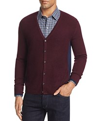 Zachary Prell Merino Wool Color Block Cardigan Sweater Dark Red