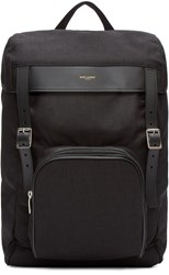 Saint Laurent Black Canvas Buckle Backpack