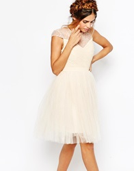 Little Mistress Ruched Bodice Skater Dress With Pleated Tulle Skirt Cream