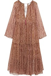 Zimmermann Realm Metallic Paisley Print Silk Georgette Midi Dress Antique Rose