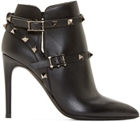 Valentino Black Rockstud Cage Ankle Boots