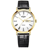 Rotary Gs05303 01 Men's Windsor Day Date Leather Strap Watch Black White