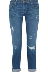 Current Elliott The Fling Distressed Mid Rise Slim Boyfriend Jeans Mid Denim