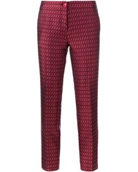 Etro Wool Blend Jacquard Trousers Red Multi Coloured White Black