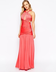 Forever Unique Grecian Wrap Halterneck Maxi Dress Watermelon