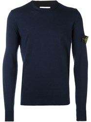 Stone Island Logo Patch Sweater Blue