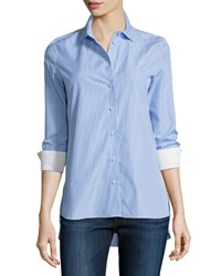 Carven Rayures Long Sleeve Striped Poplin Top Blue White Size 40 Fr 8 Us Blanc And Bleu