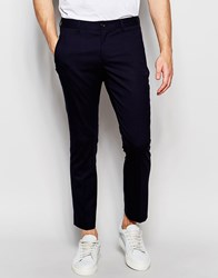 Selected Homme Skinny Fit Cropped Trousers With Zip Pockets And Stretch Black
