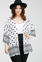 Forever 21 Elephant Print Cardigan Cream Black