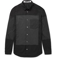 Mcq By Alexander Mcqueen Slim Fit Check Panelled Cotton Blend Shirt Charcoal