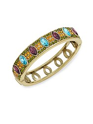 Heidi Daus Double Time Swarovski Crystal And Multicolored Rhinestone Bangle Bracelet Gold Multi