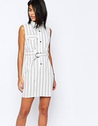 Asos Stripe Shirt Dress With D Ring Belt Detail White And Black