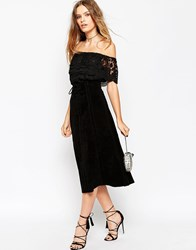 Asos Suede Midi Skirt With Heavy Stitching And Tie Front Black
