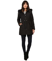 Jessica Simpson Quilted Fill Puffer W Drawstrings Hood And Removable Faux Fur Black Women's Coat