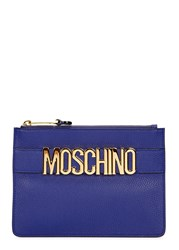 Moschino Royal Blue Leather Clutch Bright Blue