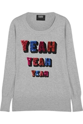 Markus Lupfer Yeah Yeah Yeah Sequined Cotton Sweater Gray