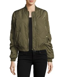 Trend Tahari Quilted Woven Bomber Jacket Olive