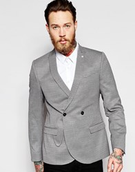 Noose And Monkey Double Breasted Blazer With Stretch And All Over Jacquard And Chain In Super Skinny Fit Grey Red