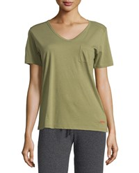 Peace Love World James V Neck Pocket Tee Forest Green