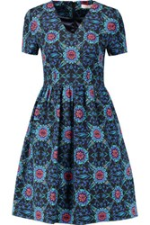 Matthew Williamson Printed Cotton Blend Twill Dress Blue