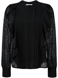 See By Chloe Embroidered Panel Ruffled Blouse Black