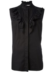Stella Mccartney Ruffle Detail Sleeveless Shirt Black