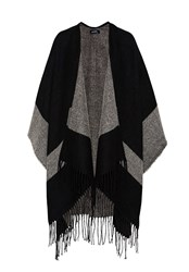 Hallhuber Graphic Print Fringe Cape Black
