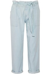 Current Elliott Newsboy Chambray Straight Leg Pants Light Denim
