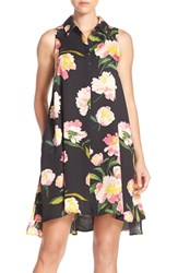 Women's Adrianna Papell Floral Crepe De Chine Shirtdress