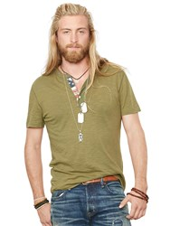 Denim And Supply Ralph Lauren Denim And Supply Short Sleeve Flag Placket Henley Top New Olive